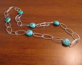 Silver oval link chain with faceted Amazonite stones...$35