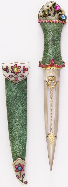 Indian dagger, 18th century, steel, shark skin, jade, gold, ruby, emerald, sapphire, silver, L. of blade 6 1/2 in. (16.5 cm); W. 1 7/8 in. (4.8 cm); Wt. 3.5 oz. (99.2 g), Met Museum, Bequest of George C. Stone, 1935.