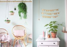 Inspiration couleur Mint, peinture des murs.  Pour un style frais, avec suspension pour plante, guirlande dorée, fauteuil en rotin ...