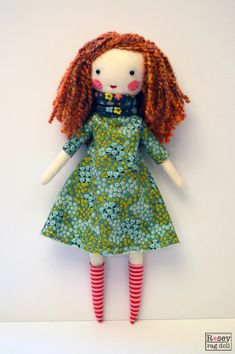 modern rag doll: Emmaline, red hair, rosey rag doll