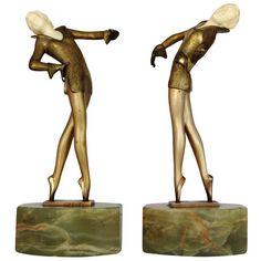 Pair of Josef Lorenzl Bronze and Ivory Ballet Dancer