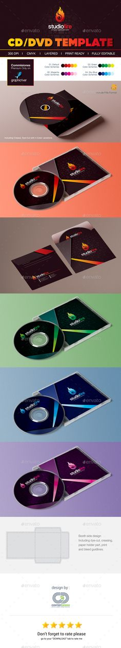 CD and DVD Artwork Template — Vector EPS #cd/dvd case #cd dvd cover templates for photoshop • Download ➝ https://graphicriver.net/item/cd-and-dvd-artwork-template/19170312?ref=pxcr