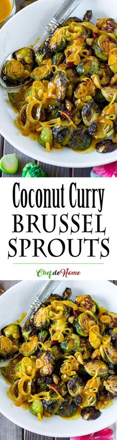 Delicious Roasted Brussel Sprouts with Coconut Curry Sauce