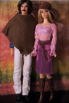Ken and Barbie - Live Action Barbie and Mod Hair Ken. Omg you just have to love the poncho on Ken! Ha ha