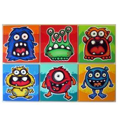 mANy mONsTERs - set of 6 12x12 original painings on canvas, monster paintings, monster room decor, monster wall art