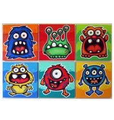 Muchos monstruos - juego de 6 painings original de 12 x 12 en lienzo, cuadros de monstruo, decoración de la habitación de monster, monster pared arte