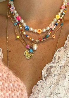 Funky Jewelry, Trendy Jewelry, Cute Jewelry, Craft Jewelry, Jewelry Accessories, Diy Jewelry Necklace, Beaded Jewelry, Jewelery, Beaded Necklaces