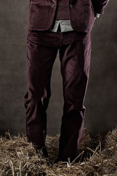 Brixton Pants - Slim stretch pants with back yoke, belt loops and antique metal buttons. Has two pockets front and back. #fashion #mens #velvet #suit