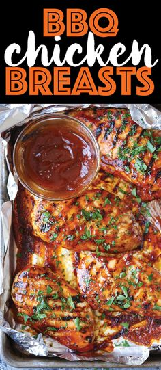 BBQ Chicken Breasts - The most tender, juicy chicken grilled to PERFECTION, smothered in a thick, homemade BBQ sauce. You can also make this ahead of time! (Recipes With Chicken Grilled) Grilling Recipes, Cooking Recipes, Grilled Bbq Chicken, Barbeque Chicken Grilled, Garlic Chicken, Homemade Bbq, Homemade Sauce, Le Diner, Breast Recipe