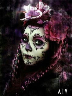 """Edited with Gimp, Model: Incandescently. """"Her gaze reminded me of ancient times, centuries from the depths of oblivion"""" Pink Sugar Skull Candy Skull Makeup, Candy Skulls, Sugar Skull Tattoos, Tribal Tattoos, Sugar Skull Girl, Sugar Skulls, Pink Skull, Dead Makeup, Day Of The Dead Skull"""