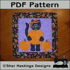 Black Cat 12 inch Mini Quilt - Halloween Mini Quilt | YouCanMakeThis.com
