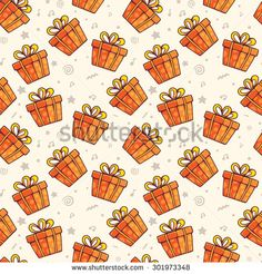 Vector pattern of many red gift boxes with bows on light background. Hand drawn line art design for web, site, advertising, banner, poster, board and print.  - stock vector