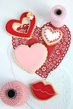 valentine heart decorated cookies - are these not the most adorable cookies ever?