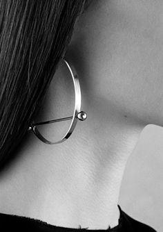 Hoop & bar statement earrings; sleek minimalist jewellery // Ann Sofie Back S/S 2014