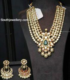 Reversible Layered Polki Ruby Pearls Mala