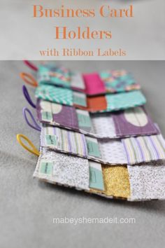 Cute and Easy! Use these for gift cards too!  Business Card Holders | Mabey She Made It #sewing #businesscardholder #fabriclabel