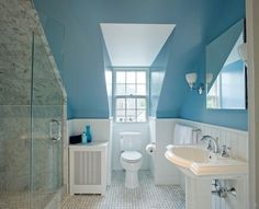 Color scheme: blue ceiling and upper walls, white wainscotting