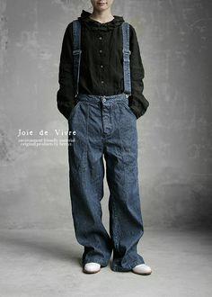 【送料無料】JoiedeVivreハードマンズリネンコットン12ozデニムサスペンダーパンツ