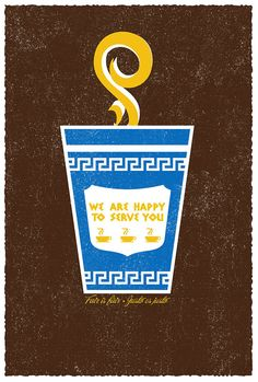 """Who else can't live without their morning cup of coffee? (And afternoon :) too!) Our """"Fair Is Fair Trade"""" hand screenprinted NYC Coffee Cup Art Print by strawberryluna."""
