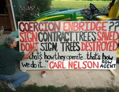 Carol Brimhall lives in Stockbridge, Mich. Enbridge plans to cut 112 trees on her property. Photo courtesy of the Brimhall family. (just SHOULD NOT happen)