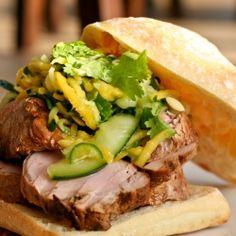 Pork Sandwich w/Spicy Mango Cucumber Slaw. Sweet and spicy, an awesome dinner sandwich.