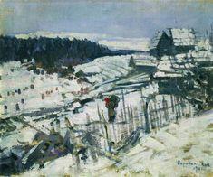 Winter - Konstantin Korovin, 1911 Russian, Oil on canvas 65 х Russian Painting, Russian Art, Ukrainian Art, Impressionist, Oil On Canvas, Snow, Fine Art, Landscape, Winter