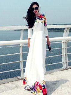 White Long Dress Floral Print Chiffon Maxi Dress For Women Trendy Dresses, Casual Dresses, Fashion Dresses, Maxi Dresses, Party Dresses, Maxi Skirts, Summer Dresses, Gown Dress, Maxi Dress With Sleeves