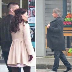 Once Upon a Time is shooting a scene with Belle and Will walking hand-in-hand in Storybrooke. As Mr. Gold gets out of his car parked at Storybrooke Produce, he sees them, then walks back to his car. - February 19, 2015