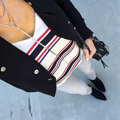 Bold Stripe Cami, Black jacket, light grey jeans | On the Daily EXPRESS - Instagram: @ontheDailyX