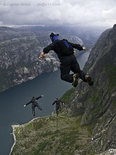 An adrenaline rush! Basejumping! - Kjerag, Norway. ~ Look at the view!!! (And such courage it takes to jump)