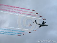 Red Arrows flypast at Farnborough Airshow 2016 with an airbus A400M