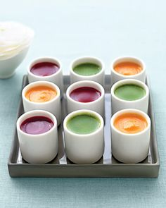 Give guests a colorful shot of savory vegetable soup in eye-catching hues
