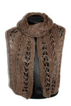 SALE Knitted Lace Stole  Long Knitted Shawl  Brown by CRAZYSPIRIT, $10.00