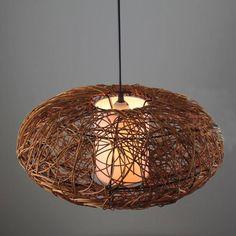 "Handmade Pumpkin Rattan 18"" Ceiling Fixture CEILING LIGHTS Fixture Chandelier"