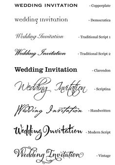 A selection of fonts that can be used for your wedding stationery.