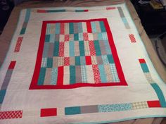The front of my finished floor quilt for my sweet, Little Man arriving soon.