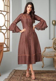 Brown Silk Readymade Tunic With Frill Sleeve 167137 Kurti Sleeves Design, Sleeves Designs For Dresses, Kurta Neck Design, Silk Kurti Designs, Kurta Designs Women, Blouse Designs, Sharara Designs, Ladies Frock Design, Kurti Patterns