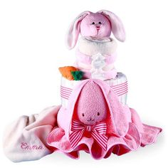 Cute Pink Rabbit Diaper Cake Girl Personalized Price: $65.00 #GiftBaskets4Baby #DiaperCake #boys #girls #gifts #giftbaskets #Baby For more information visit: www.GiftBaskets4Baby.com