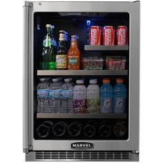 Marvel Professional 24 Inch Refrigerator with Black Cabinet and Locking Glass Door