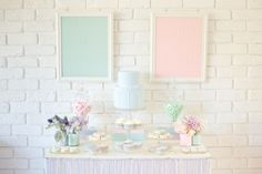 Pastel Dessert Table - Perfect for Bridal Shower, Baby Shower, Pastel Parties or even Wedding) Gender Reveal Decorations Diy, Pastel Balloons, Blue Desserts, Wedding Sweets, Candy Table, Candy Buffet, Shabby Chic Pink, Festa Party, Pastel Colors