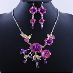جميلة مجوهرات الزفاف الأرجواني زهرة الشمس قلادة أقراط مجموعة (الصين (البر الرئيسي))