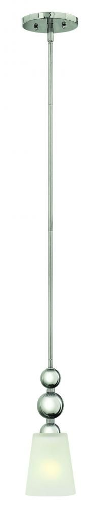 One Light Polished Nickel Etched Glass Down Mini Pendant : SKU V87-3447pn | Wolberg Electrical Supply Inc