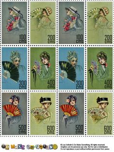 Faux postage stamps are great for decorating envelopes, and are ideally sized for artist trading cards. Vintage Stamps, Vintage Ephemera, Vintage Paper, Vintage Art, Printable Cards, Free Printables, Recycled Books, Decorated Envelopes, Project Life Cards