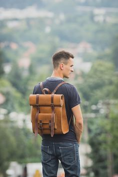 Leather Rucksack Backpack Rustic Leather Bag by BennyBeeLeather