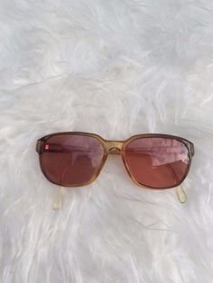 VTG Retro Zeiss Germany 80's Amber Geometric Pink Amber Coloured Lenses Glasses #Zeiss #Oval
