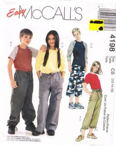 McCalls 4198 Childs' Tops & Pants Sewing Pattern 12-16 Uncut