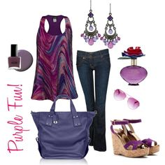 purple casual, created by raq40 on Polyvore