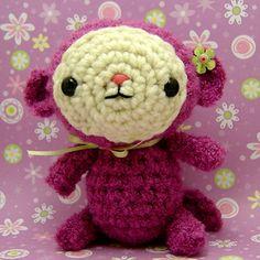 Amigurumi Magenta Monkey with Flower