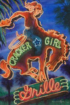 vintage neon sign art, Alison Studios.com , Fine Art, Original Watercolor Paintings, Vintage Neon Sign Paintings More Neon Fiction