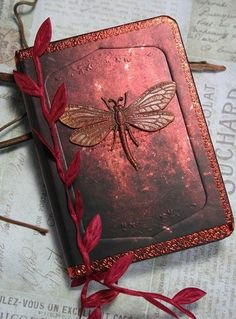 Dragonfly mini journal -AUTUMN WINGS- dragonfly pocket or purse nature journal diary Journal Covers, Book Journal, Journal Diary, Nature Journal, Book Covers, Altered Books, Altered Art, Dragonfly Art, Dragonfly Painting